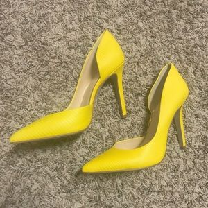 Bright yellow pumps